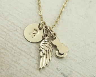 Cat memorial necklace, personalized cat memorial necklace, gold filled chain, cat necklace, angel wing necklace, cat lover necklace