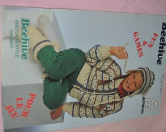Beehive 480  Fun and Games Kids Knitting  Sweater pattern Booklet