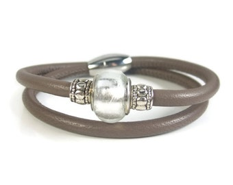 Taupe Leather Bracelet, Womens Leather Jewelry, Womens Leather Bracelet, Leather Wrap Bracelet, Wrap Bracelet, Genuine Leather