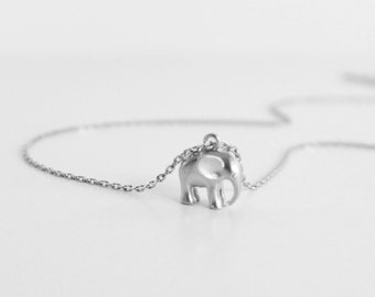 Tiny Elephant Necklace, Baby Elephant, 14K Gold Filled Chain Or Sterling Silver Chain, Symbolic Charm, Wisdom, Layering Necklace, Wedding