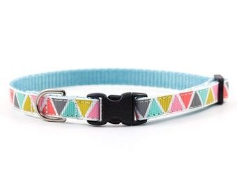 Geometric Dog Collar - 3/8 inch width - Little Dog or Cat Collar - Standard Buckle - Pattern: Pastel Triangles