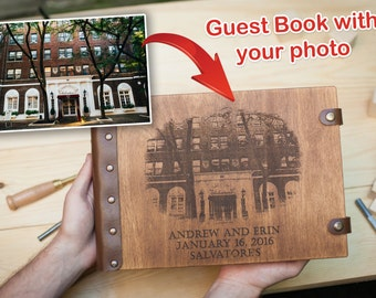 Custom Guest Book, Guest Book with your photo, Wedding Guest book, Guestbook, Customized