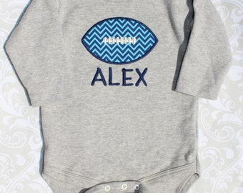 Football Onesie, Gray, Long Sleeve, Personalized