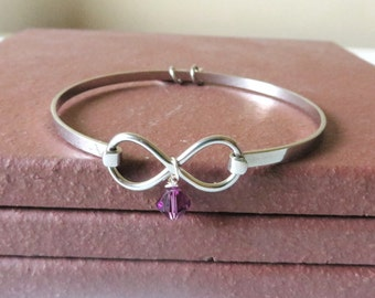 Purple Awareness Stainless Steel HOPE LOVE Bracelet YOU Choose Charm(s)