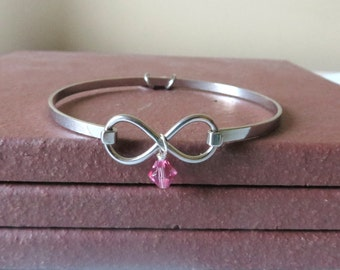 Pink Awareness Breast Cancer Testicular Cancer Birthparent Awareness Infinity Bracelet LOVE HOPE YOU Choose Charm(s)