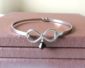Melanoma Black Awareness Ribbon HOPE LOVE Infinity Bracelet YOU Choose Charm(s)