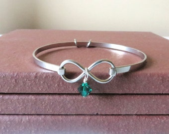 Liver Cancer Celiac Disease Emerald Green Awareness Ribbon HOPE LOVE Infinity Bracelet YOU Choose Charm(s)