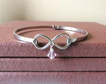 Lavendar General Cancer Awareness Ribbon HOPE LOVE Infinity Bracelet YOU Choose Charm(s)