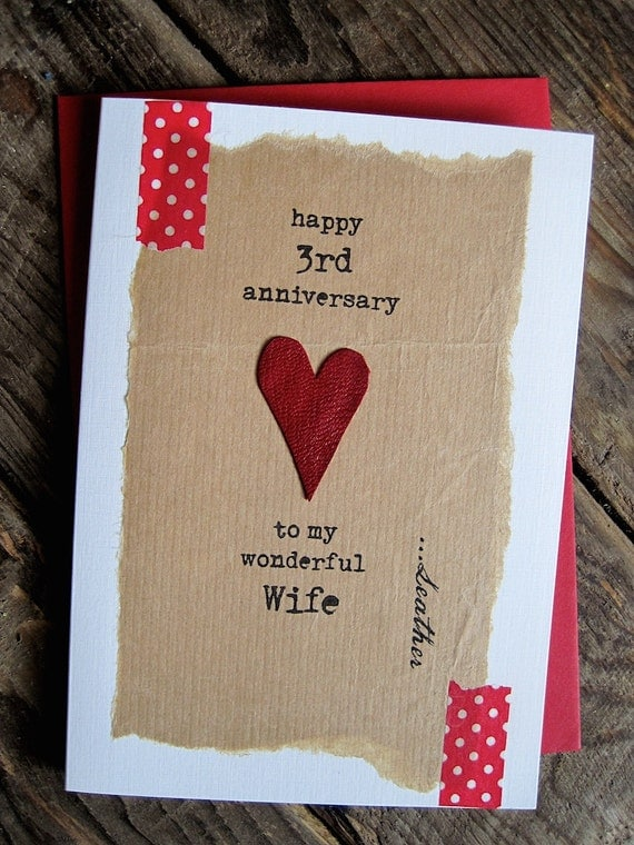 Items similar to 3rd Wedding Anniversary Card Leather Traditional Gift ...
