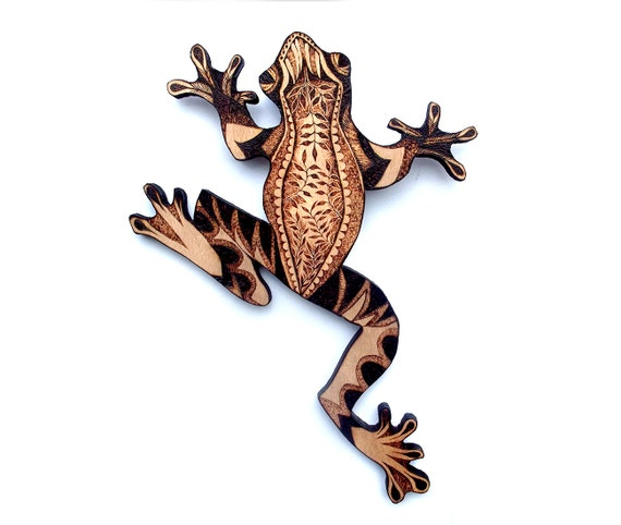 Wood Frog Wall Hanging With Pyrography Wood Burning Wall