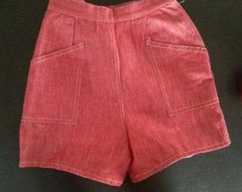 Vintage 1970s Red Denim High Waist Shorts
