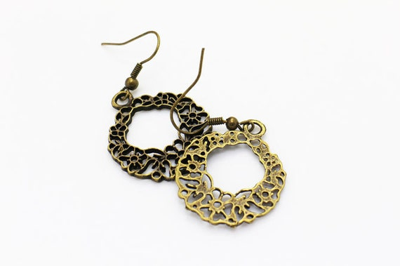 wreath dangling earrings flower ring necklace antique bronze