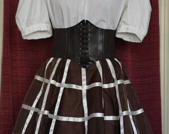 Brown and Cream Steampunk Caged Skirt Ensemble