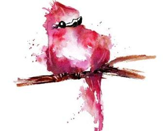 Whimsical Bird Art, Nursery Art Print, Kid Wall Art, Bird Watercolor Painting, Baby Room Wall Decor, Bird Art, Abstract Children Art, Pink