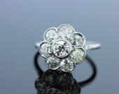 14K White Gold Diamond Flower Ring  with Milgrain and Pave Accents