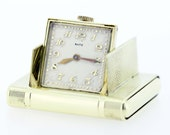 14K Yellow Gold Satz Pop-up Travel Clock