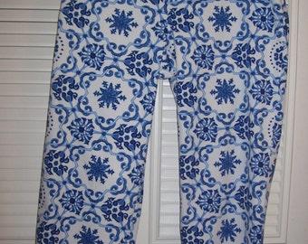 Capris 14, Talbot's Royal Blue and White Capris.  Bright , vivid capris  Size 14