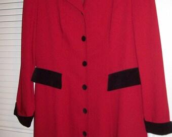 Vintage Donna Ricco Coat Dress Size 12.  PERFECT Career Fall Dress !