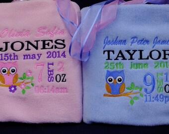 Personalised Baby Blanket Fleece Embroidered Christening  Newborn Gift Boy Girl