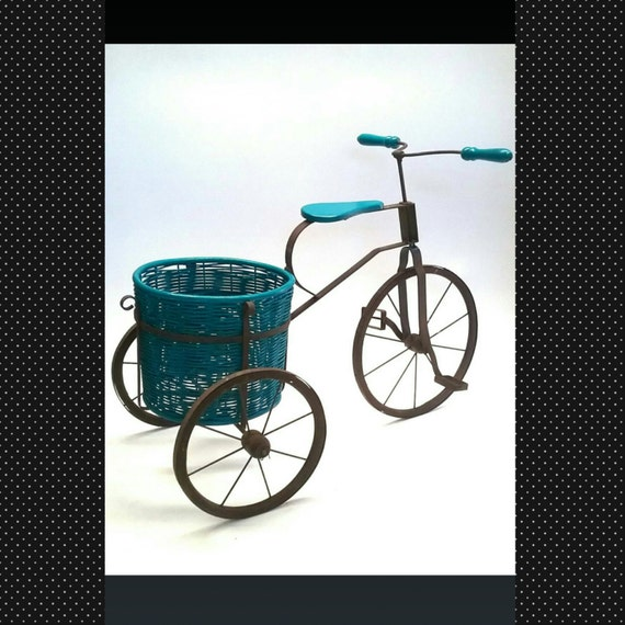 Vintage wrought iron planter tricycle bicycle plant holder - Bicycle planter stand ...
