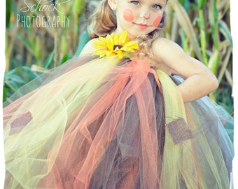 Scarecrow Tutu Dress, Scarecrow Dress, Scarecrow Costume, Fall Tutu Dress, Sunflower Tutu Dress, Fall Harvest Tutu Dress, Scarecrow Hat