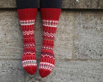 Fair Isle Socks - Rosa - Hand knit Wool