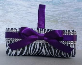 Zebra Bling Basket & Pillow - Your choice of ribbon color - Wedding Cheetah Animal Rhinestone - Crystal