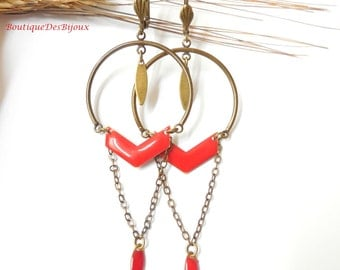 Filigree earrings with red pendant