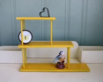 Vintage Knick Knack Shelf Display Yellow