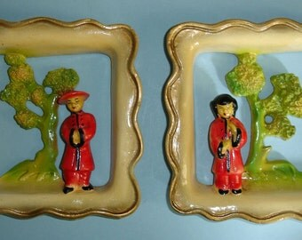 Vintage Chinoiserie Chalkware Wall Plaque Set