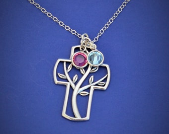Family Tree Necklace Mothers Necklace -Tree of life - Necklace -Catholic jewelry-Cross Necklace - Sterling Silver- Birthstone Tree Necklace