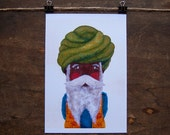 Original acrylic portrait illustration. Sikh man,inspired by the trip to India. Man with beard, mustache and turban. A5 Print Folk Art
