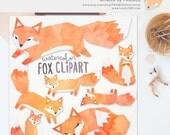 GET 3 FOR 2. Watercolor Fox Clipart. Digitally Handdrawn Fox Clip Art. Cute Kawaii Foxes. Geometric Childrens Craft. Digitally Handdrawn.