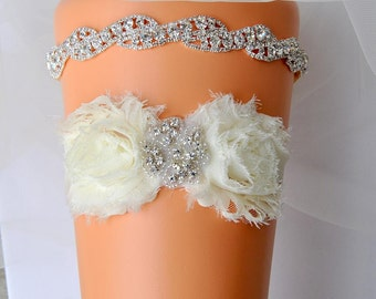 Luxury Bridal Garter Set, Wedding Garter Set Ivory, Ivory Shabby Chic Rhinestone Garter, Crystal Rhinestone Garter and Toss Garter Set