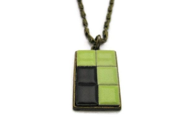 mosaic necklace mosaic pendant tile necklace by revelryjewelry