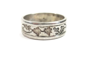 Antique Grape Cluster and Leaf Cigar Band Ring Sterling Size 7