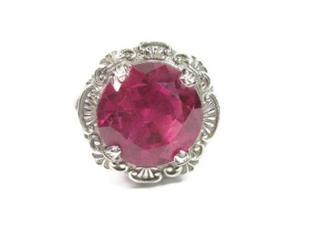Huge Vintage 14K White Gold 6 Carat Pink Spinel Ring Size 6