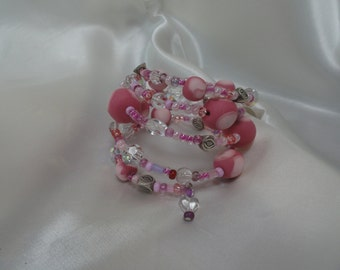 Pink and Crystal Memory Wire Bracelet