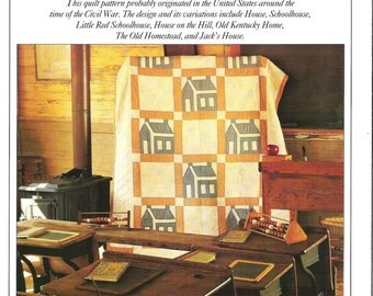 SCHOOLHOUSE QUILT Pattern, Finished size 64 X 84 inches, Block size 10 X 10 inches. Templates Included.