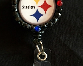Pittsburgh Steelers  Retractable I.D. Badge Holder, ID Badge Holder, Nurse Badge Reel, Name Badge Reel, Name Badge Holder, ID Badge Reel