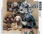 Puppy Dog, Kitty Cat, Soft Stuffed Toy, Sewing Pattern, McCalls 8550, McCalls 631, Carol's Zoo, Learn to Sew, Easy Sew Pattern, UNCUT