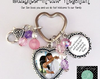 Daughter in law gift, Future Daughter in law gift, Daughter-in-law gift, welcome to the family, custom photo keychain, wedding gift