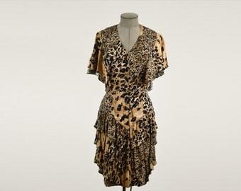80's Vintage Tarzan Jane Layered Leopard Dress Barbara Barbara