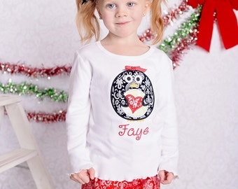 Girl's Winter Shirt with Penguin Heart and Embroidered Name