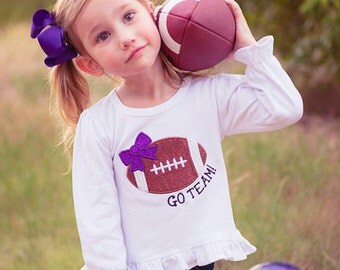 Girl's Football Shirt with Embroidered Glitter Bow and Name - Customizable Colors