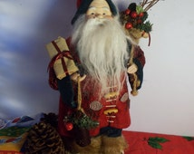 Scandinavian Santa/ Porcelain Head & Hands/ Felt Jacket and Hat trimmed w Pine Cones/ Holding Metal Light/ Sack Full of Gifts/  Collectible