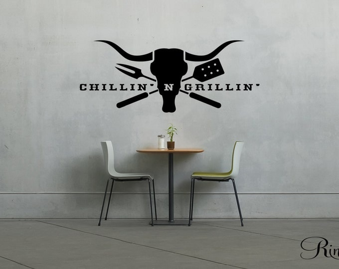 BBQ Grills Decal - chillin' & Grillin' Wall art Vinyl sticker Cow Skull longhorn country kitchen steakhouse home decor