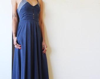 Navy Blue Maxi Dress / Bridesmaid Dress / Pleated Pockets Dress / Women Clothing / Sleeveless Dress / Women Evening Dress - Nefertiti
