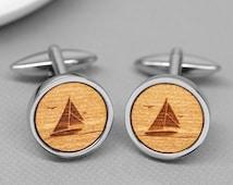Sailing Boat Cufflinks, Nautical Cufflinks, Etched Wooden Cufflinks, Boat Cufflinks, Wooden Cufflinks, Nautical Gift, Sailing Gift