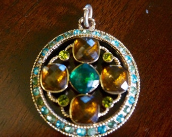 Metal and Crystals; Pendent Only; Approx. 2 Inches; Very Nice !!!